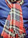 Tartan scarf red being worn with a winter jumper Royalty Free Stock Photo