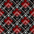 Tartan Seamless Pattern Background. Red, Black, Blue, Beige and White Plaid with snowflake, Tartan Flannel Shirt Patterns. Trendy Royalty Free Stock Photo