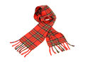 Tartan winter scarf with fringe. Royalty Free Stock Photo
