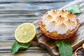 Tartlet with lemon cream and meringue. Royalty Free Stock Photo
