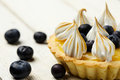 Tartlet with lemon curd blueberries and meringue horizontal close up Stock Image