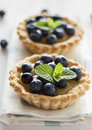 Tartlets with blueberries lemon curd and Stock Photography
