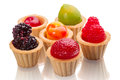 Tartlets fruit jelly white background Stock Photos