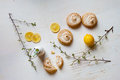 Tartlets with lemon curd and meringue four tarts slice Royalty Free Stock Photos