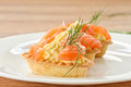 Tartlets with salted salmon Stock Image