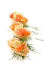 Tartlets with salted salmon Royalty Free Stock Images
