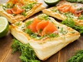 Tartlets with smoked salmon cottage cheese and green onion shallow dof Stock Images
