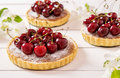 Tarts with almond stuffing and sweet cherry on a white wooden background flowering branches of apple trees Stock Image