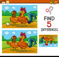 Task of differences for child cartoon illustration finding educational preschool children with rooster and hen farm animal Stock Photography