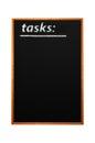 Tasks title written with chalk on blackboard Stock Photo