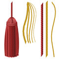Tassel set in yellow and red color variations isolated on white Stock Photography