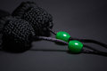 Tassel of Tai Chi sword on the black background Royalty Free Stock Photo