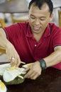 Taste of durian fruit Royalty Free Stock Photo