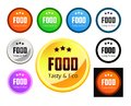 Taste and eco food set of emblem with caption vector illustrations isolated on white Royalty Free Stock Photography