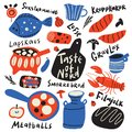 Taste of nord. Funny hand drawn typographic illustration of different scandinavian food and kitchen ware. Names of dishes. Vector. Royalty Free Stock Photo