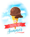 The taste of summer. Bright colorful poster with chocolate ice cream cone on the sky background. Royalty Free Stock Photo