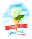 The taste of summer. Bright colorful poster with strawberry ice cream cone on the sky background.