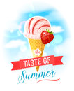 The taste of summer. Bright colorful poster with mango ice cream cone on the sky background.