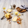 Tasted cheese and food swiss for brunch or apperitive instant Stock Images