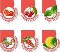 Tastes of berries toper a set small labels depicting various respective Stock Image
