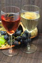 Tasting of grape and bottle of red and white  wine Stock Photography