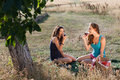 Tasting wine on a picnic young women during in golden evening light Royalty Free Stock Images