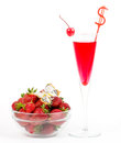 Tasty alcohol cocktail with strawberry Royalty Free Stock Images