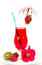 Tasty alcohol cocktail with strawberry isolated on white background Royalty Free Stock Photography