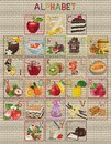 Tasty alphabet of letters which begin here with various fruits and sweets and their images as icons made in the style of cross Royalty Free Stock Image