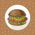 Tasty american Hamburger logo background Vector illustration