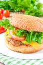 Tasty american lunch cheeseburger with meat cutlet cheese and rissoles cheddar lettuce tomato Royalty Free Stock Photography