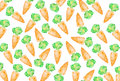 Tasty appetizing colorful background with hand drawn carrots on