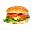 Tasty and appetizing hamburger on a white background Stock Photo