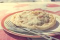 Tasty apple pie homemade organic dessert served on a table Stock Photo