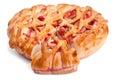 Tasty apple pie open on white background Royalty Free Stock Photos