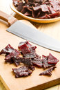 Tasty beef jerky Stock Images