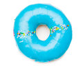 Tasty blue donut isolated on white Royalty Free Stock Photos