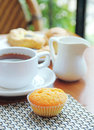 Tasty breakfast with muffin Royalty Free Stock Photo