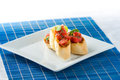Tasty bruschetta on the plate stock image Stock Photo