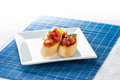 Tasty bruschetta on the plate stock image Royalty Free Stock Photo