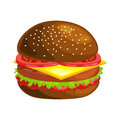 Tasty burger grilled beef and fresh vegetables dressed with sauce in bun for snack or lunch, hamburger classical