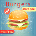 Tasty burger grunge cover for fast food menu hamburger on a vintage background Stock Image