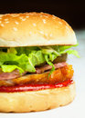Tasty burger with salat and bacon Royalty Free Stock Image