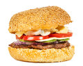 Tasty burger with vegetables Royalty Free Stock Photo