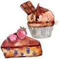Tasty cake and bun sweet dessert. Watercolor background set. Isolated desserts illustration element.