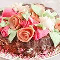 Tasty cake with roses Stock Photo