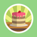 Tasty cake with strawberry illustration the Royalty Free Stock Photography