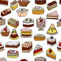Tasty cakes seamless pattern. Decorated with colored frosting