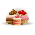 Tasty cakes vector illustration of isolated on white background Royalty Free Stock Photo