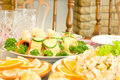 Tasty canape. Banquet in the restaurant Royalty Free Stock Images